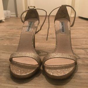 Steve Madden gold glitter strapped heels. Size 8.